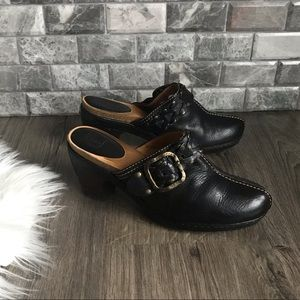 Frye Candice Woven Clogs Black leather mules 9.5 M